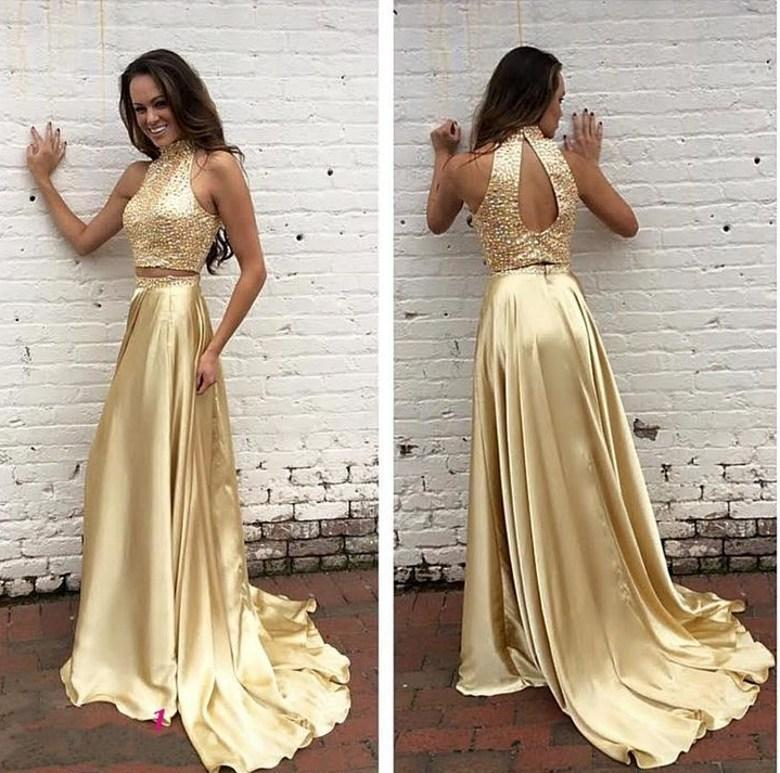 29e9f24b52e95 2016 Sexy Gold Two Pieces Prom Dresses High Neck Sequined Bodice Keyhole  Back A-line Satin Court Train Vestido Longo Evening Gowns